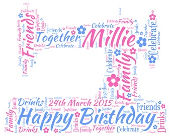 Personalised Word Art - A Sewing Machine Design - A4 Print or Digital File