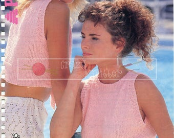 Teen Lady's Suntop 30-40in DK Patons 8271 Vintage Knitting Pattern PDF instant download