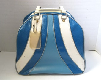 Mid Century Retro Brunswick Two Tone Blue & White Bowling Ball Bag Luggage Travel