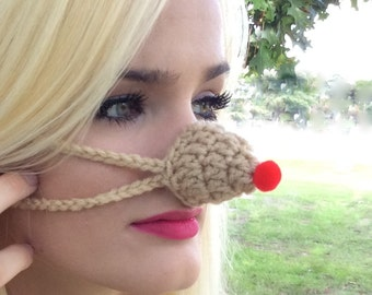 Rudolph Red Nose - Nose Warmer, Nose Cozy, Winter Warm Nose Cover, Christmas Party Fun, Stocking Stuffer Gift Unisex, Teacher, CoWorker gift