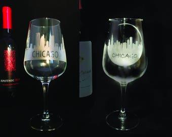 Chicago Skyline Etched Wine Glass