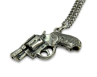 Pistol Necklace - Sterling Silver White Bronze