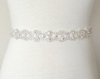 Silver Bridal Sash, Rhinestone Bridal Belt, Bridal Sash