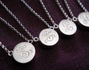 initial necklace initial pendant sterling silver disc necklace bridesmaids gift maid of honor gift anniversary gift monogram necklace