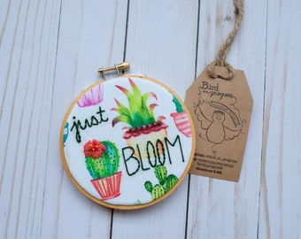 Just Bloom Hoop Art, Succulent Hoop Art, Printed Fabric Embroidery, Hand Embroidery, Bead Embroidery, Home Decor, Embellished Hoop Art