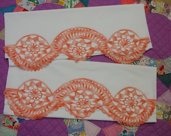 Vintage Pillowcase Pair with Elaborate Hand Crochet Peach on White Cotton, Perfect
