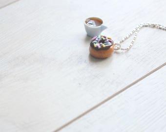 Kawaii Donut Necklace -- Donut Charm Necklace -- Chocolate Doughnut Charm Necklace -- Polymer Clay Donut Necklace