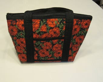 Red Poppy Flower Quilted Zippered Purse