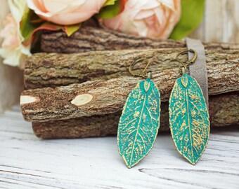 Green Gold Verdigris Leaf Earrings   Nature Botanical Inspired Jewelry Gift