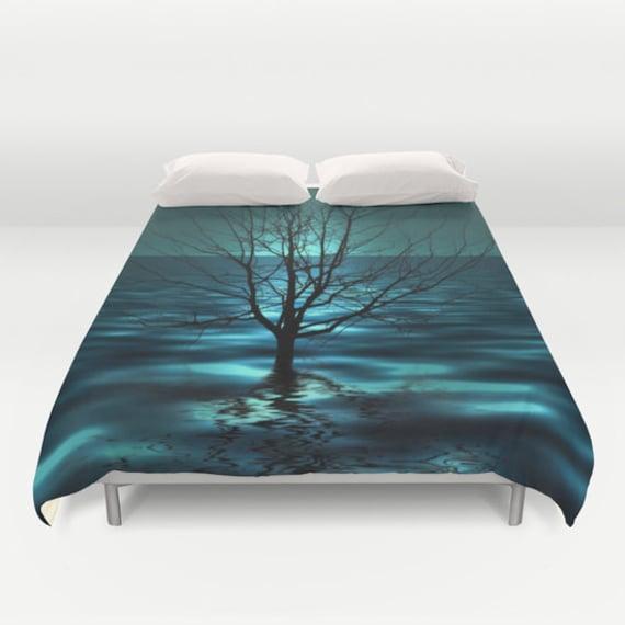 Tree in Ocean Duvet Cover, Waves Decorative bedding, Teal Bedding, Nautical, Aqua Blue bedroom, Dorm, Hotel, Beach, Surf,Water,Ocean Blue