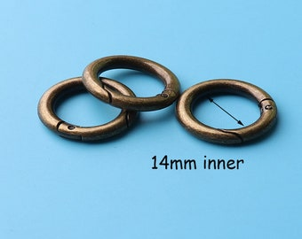 10pcs spring Jump Rings, antique bronze  plated Brass Open Jump Rings, O ring Round ring Purse ring 14mm inner thq3