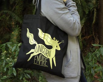 Unicorn Empire Tote Bag | Black and Gold Unicorn Tote Bag