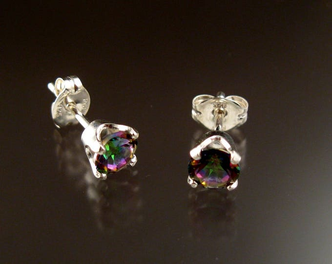 Mystic Topaz 5mm round post earrings Sterling Silver