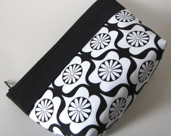 Cosmetic Zipper Pouch Black and White Makeup Bag