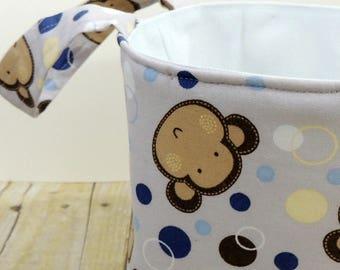 Monkeys on Gray Fabric Storage Basket - Diaper Caddy - Toy Storage