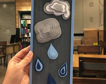 Clouds and Raindrops Layered Paper Crafts