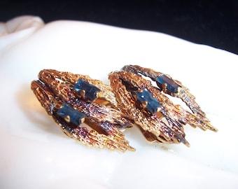 Beautiful Vintage Germany 1/80 18 KT RGP Sapphire Stone Earrings