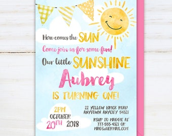 Little Sunshine Birthday Invitation, Here Comes the Sun Invite, You are my Sunshine Girl First Birthday Watercolor Printable Invitation