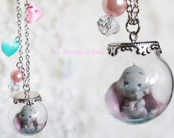 Little Dumbo polymer clay necklace, handmade