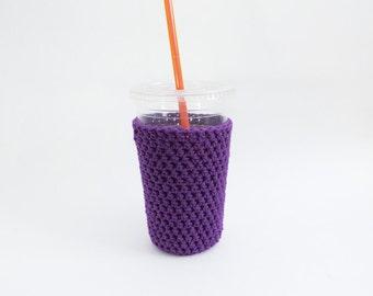 purple iced coffee cozy. Crochet coffee cozy. purple cup cozy. Cotton cup sleeve. Eco friendly cup jacket. drink cozy. Purple cup sleeve