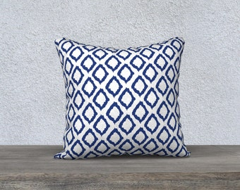 Ikat Pillow Cover - Ikat Cushion Cover - Blue Pillow Cover -18x18 or 20x14 - Decorative Pillow