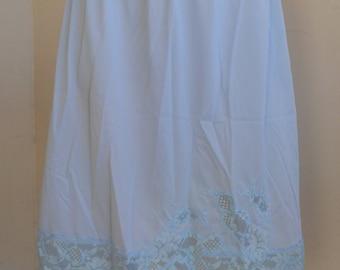 Vintage Half Slip Blue Lace Pillow Tab
