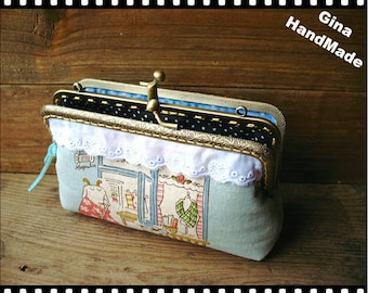 Mrs Goat Two-compartment Coin purse / Coin Wallet / Pouch coin purse / Kiss lock frame purse bag-GinaHandmade