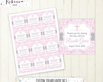 baptism favor tags pink favor tags communion favor tags printable confirmation favor tags square favor tags printable bautizo comunion 165