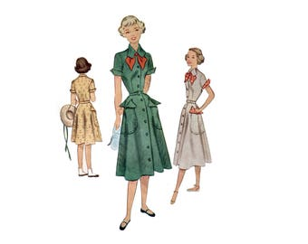 40s uncut Girl Scout Uniform pattern New Look Dress pattern Girls Dress pattern Vintage 28-24-32 XS Bust 28 mccalls 7800 mccall 7800