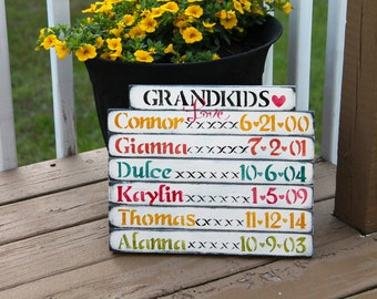 Grandkids Birthday sign, birthday reminder, rustic, wooden, Grandmother sign, Mothers day gift