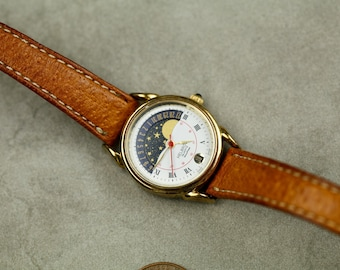 Vintage Helbros Moonphase quartz watch with date and brown leather strap