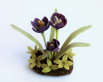 Miniature Plants Polymer Clay Flowers Supplies for Dollhouse, Wild Flowers