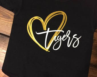 Heart Tigers - Commerce Tigers --- School Spirit Tshirt --- Tiger Love --- Cute Girl Gift