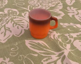 Vintage 1960s Anchor Hocking FIRE KING OVENPROOF Two-Tone Orange Coffee Mug