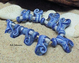 Waves, Artisan Lampwork Glass Beads, SRA, UK