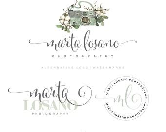 Premade logo package photography logo camera logo boho flowers logo branding package floral logo watercolor logo branding kit watermark  25