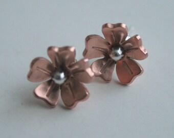Copper Rose Flower Post Earrings, Flower Post Earrings, Copper Flowers, Handmade Earrings, Stud Earrings, Daisy Earrings, Rose Earrings