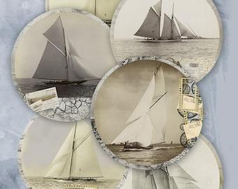 75% OFF SALE Digital collage Ships - Printable Collage sheet Digital Download Circle Digital Vintage Digital Image ATC Card Retro Card Ship