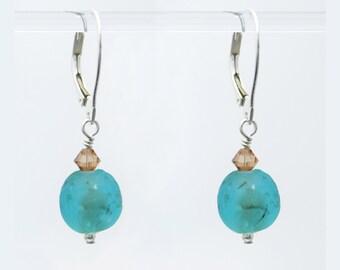 Teal Aqua Blue Krobo African Glass earrings in Sterling Silver