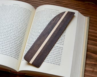 Wooden Bookmark -- FREE SHIPPING -- Black Walnut and Maple -- Unique Reader Gift