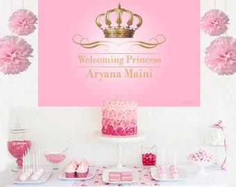 Royal Princess Personalized Backdrop - Pink Birthday Cake Table Backdrop- Gold Crown Backdrop, Royal Baby Shower Backdrop, Little Princess