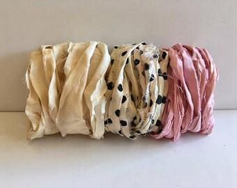 Silk Sari Ribbon-Antique White, Dot, Pink Sari Ribbon-9 Yards