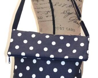 Crossbody Fold Over Bag / Shoulder Bag / Cross body Bag / Cross bodyTote Bag /  Cross body Purse / Satchel / Handbag / Navy and White