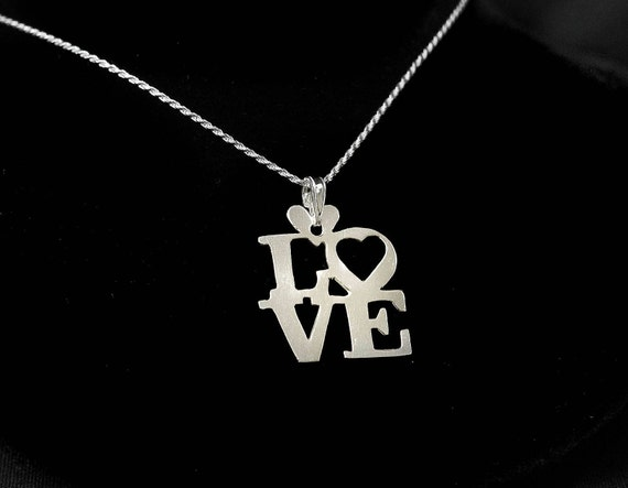"""Sterling Silver """"LOVE"""" Necklace, 925 LOVE, Word Necklace, Silver words, Silver Love, Stacked LOVE, Love with Heart, The Word Love"""