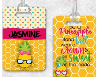Personalized pineapple girl bagtag backpack tag