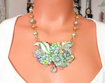 Collage jewelry necklace set, earrings, flowers, vintage style, blue and green