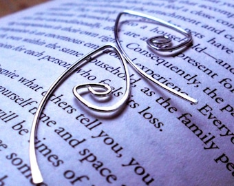 Rustic Sterling Silver Spiral Teardrop Wishbone Open Hoop Hammered Earrings