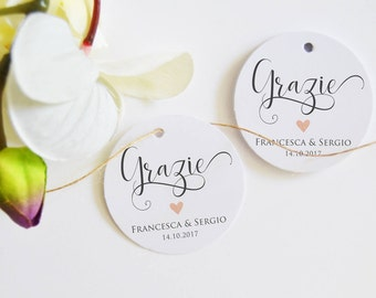 Thanks, labels (24) gift tags for wedding favors, Personalized Wedding Labels