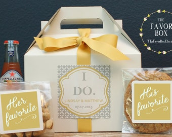 Set of 6 - Out of Town Guest Box // Wedding Welcome Box // Wedding Welcome Bag // Out of Town Guest Bag // I Do Label Design