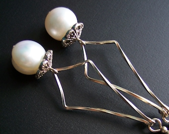 Art Deco Pearl Earrings, Romantic Gift for Her, Shoulder Dusters, Sterling Silver with Marcasite, Wedding Jewelry, Bridesmaids